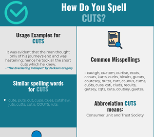 Correct spelling for cuts
