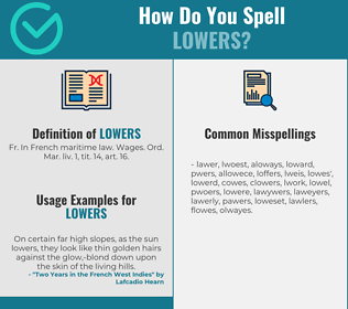 Correct spelling for lowers