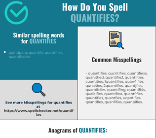 Correct spelling for quantifies