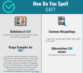 Correct spelling for GAF