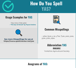 Correct spelling for YAS