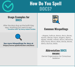 Correct spelling for DOCS