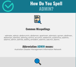 Correct spelling for ADMIN