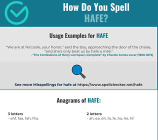 Correct spelling for HAFE
