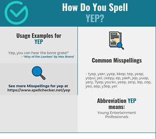 Correct spelling for YEP