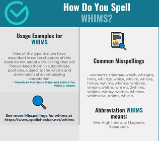 Correct spelling for WHIMS