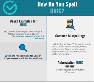 Correct spelling for UNIC