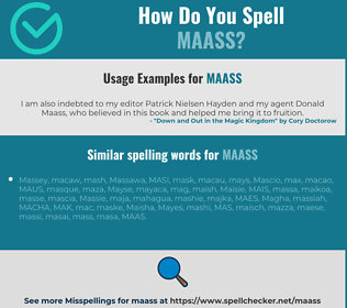 Correct spelling for MAASS