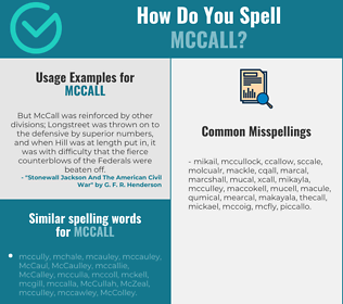 Correct spelling for MCCALL