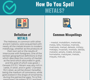 Correct spelling for METALS