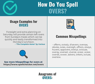 Correct spelling for OVERS