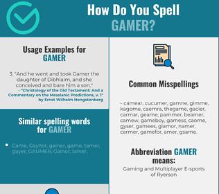 Correct spelling for gamer