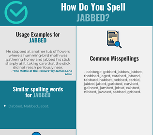 Correct spelling for jabbed