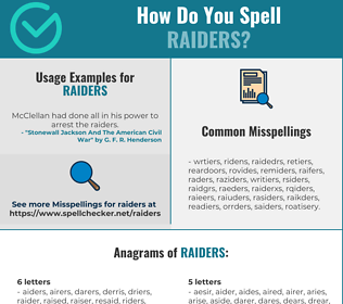 Correct spelling for raiders
