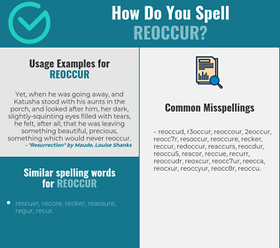 Correct spelling for reoccur