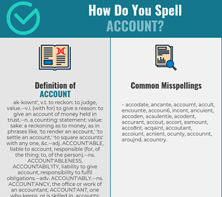 Correct spelling for account
