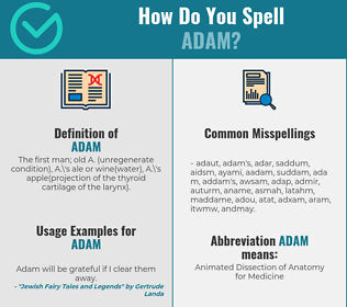 Correct spelling for adam