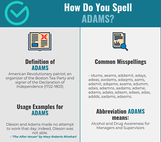 Correct spelling for adams