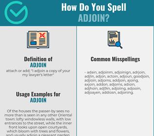 Correct spelling for adjoin