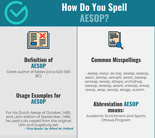 Correct spelling for aesop