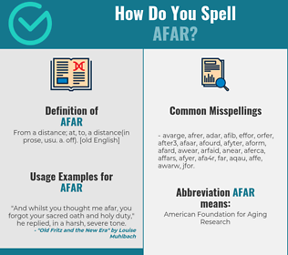Correct spelling for afar