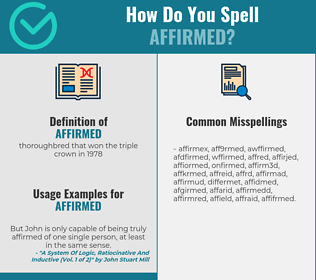 Correct spelling for affirmed