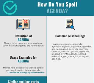 Correct spelling for agenda