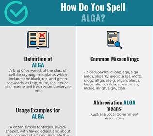 Correct spelling for alga