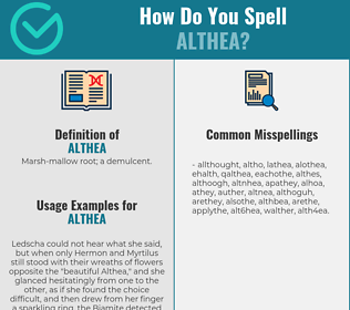 Correct spelling for althea