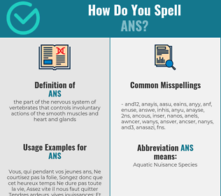 Correct spelling for ans
