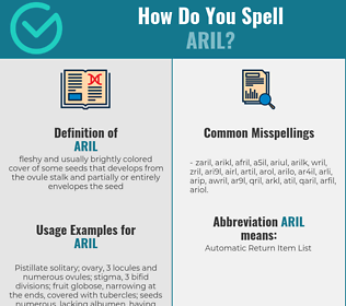 Correct spelling for aril