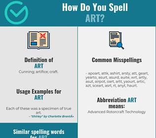 Correct spelling for art