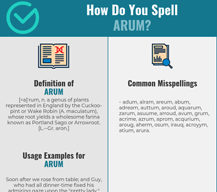 Correct spelling for arum