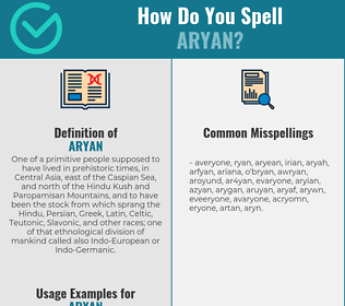 Correct spelling for aryan