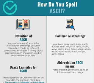 Correct spelling for ascii