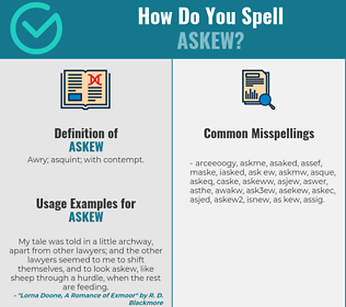 Correct spelling for askew