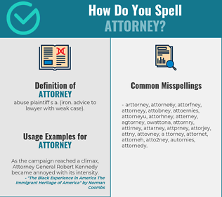 Correct spelling for attorney [Infographic] | Spellchecker.net on power of appointment form, contract form, easement form, acknowledgment form,