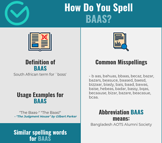 Correct spelling for baas