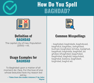 Correct spelling for baghdad