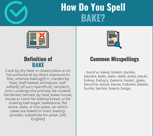 Correct spelling for bake