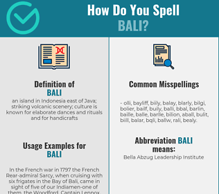 Correct spelling for bali
