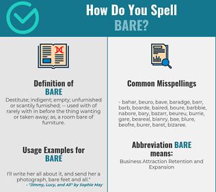 Correct spelling for bare