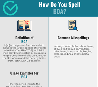 Correct spelling for boa