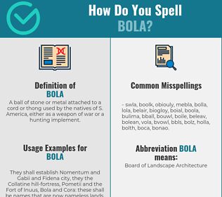 Correct spelling for bola