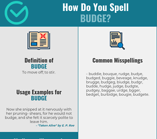 Correct spelling for budge