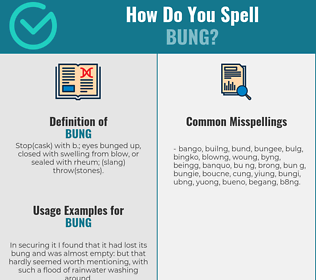 Correct spelling for bung