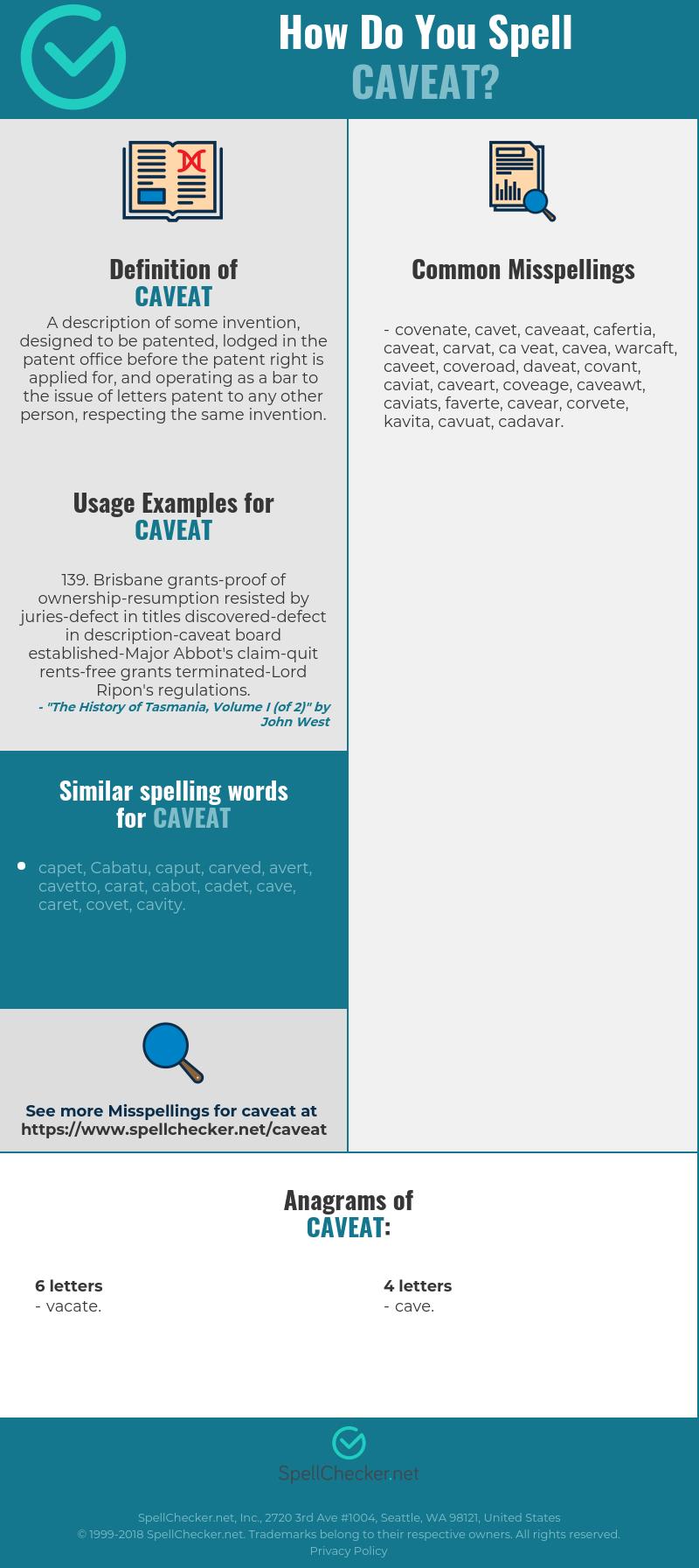 Correct spelling for caveat [Infographic] | Spellchecker.net