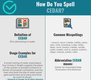 Correct spelling for cedar