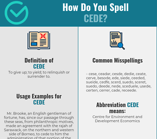 Correct spelling for cede