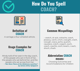 Correct spelling for coach